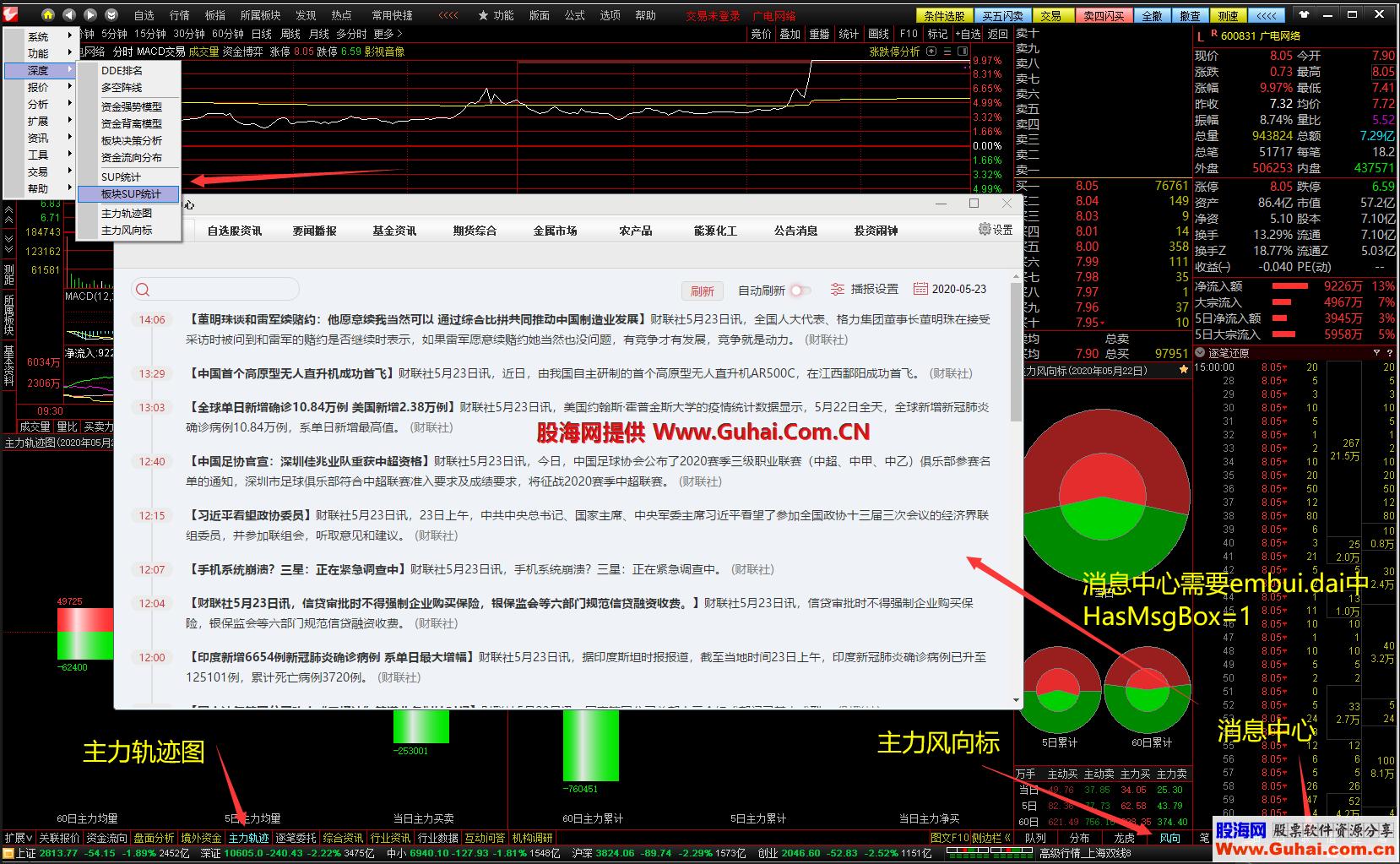 股海网整合版V2020.05标签合并、开消息中心、风向、主力轨迹、SUP统计、DDE数据选股